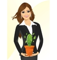business woman holding cactus vector image vector image