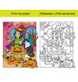 coloring with colored example witch with cat vector image vector image