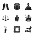 Crime set icons in black style Big collection of vector image vector image