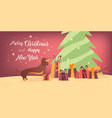 dog and gifts near the christmas tree banner desig vector image vector image