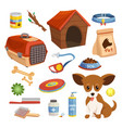 dog food accessories toys set puppy pet vector image