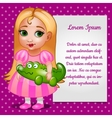 Doll girl in pink dress with card for your text vector image