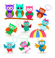 funny cartoon owls set in different poses vector image vector image