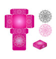 gift wrapping box with floral mandala on pink vector image