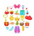 happiness icons set cartoon style vector image