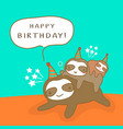 happy sloth family cartoon humor birthday card vector image