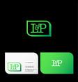 l p letter monogram green frame vector image vector image