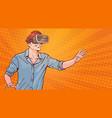 man wear modern 3d glasses virtual reality concept