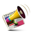 megaphone with newspapers application vector image vector image