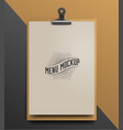 menu template mock up realistic vector image vector image