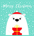 merry christmas white polar bear cub face holding vector image vector image