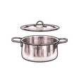 metal chrome pot sketch cartoon isolated vector image