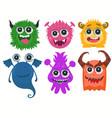 monsters cartoon funny cute little monster set vector image