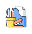 office supplies rgb color icon vector image