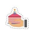 party piece cake in hand icon image vector image