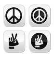 Peace hand gesture buttons set vector image vector image