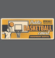 public basketball court player and ball in basket vector image vector image
