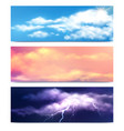 realistic clouds banners set vector image