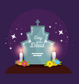 rip with flowers and candles to celebrate day of vector image vector image