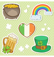 Saint Patricks Day stickers elements bowler vector image
