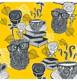 Seamless background with hot tea and clever owls vector image vector image
