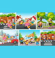 set animal children with city background vector image vector image