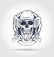 sketch skull with cowboy vector image vector image