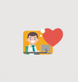smiling doctor at computer icon vector image