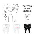 tooth with diamond icon in cartoon style isolated vector image