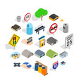 urban buildings icons set isometric style vector image vector image
