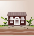 village shop or cafe next to the road and bushes vector image vector image