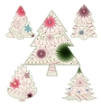 Vintage christmas trees vector image