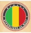 Vintage label cards of Mali flag vector image