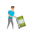 warehouse worker pushing trolley with barrel vector image