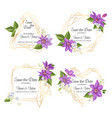 Wedding invitation template with clematis flowers