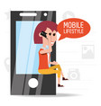 woman seated with smartphone in the hand called vector image vector image