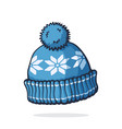 wool winter hat with pompon vector image