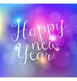 Happy new year bokeh lights card vector image