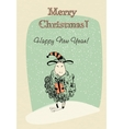 Greeting card sheep with gift vector image