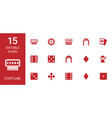 15 fortune icons vector image vector image
