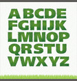all letters of green grass alphabet vector image