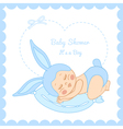 Baby shower little boy sleeping in a bunny costume vector image vector image