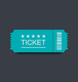 blue ticket icon with shadow on black background vector image vector image