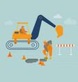 builder digging soil with shovel near excavator vector image