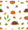 cartoon autumn turkey pattern vector image vector image