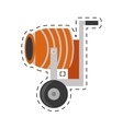 cement mixing machine wheel cut line vector image vector image
