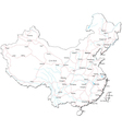 China Black White Map vector image
