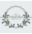 christmas frame with pine branches and mistletoe vector image