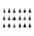 christmas tree silhouette simple symbols xmas vector image vector image