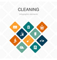 cleaning infographic 10 option color design broom vector image